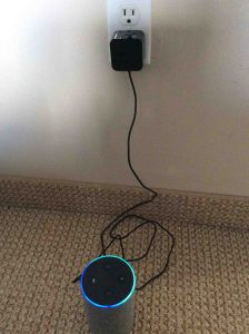 How to reset Amazon Alexa Echo Gen 2. Picture of the Amazon Echo 2nd gen Alexa smart speaker, powering up.