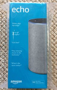 Picture of the original packaging front for the Amazon Echo Gen 2 smart speaker.