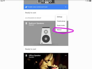 Picture of the Google Chromecast Audio receiver, as shown in the Google Home app, with its Restart option circled.