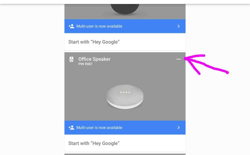 Picture of the Google Home Mini Speaker, as displayed in the Google Home App, showing in the Devices list, with its Device Menu location highlighted.