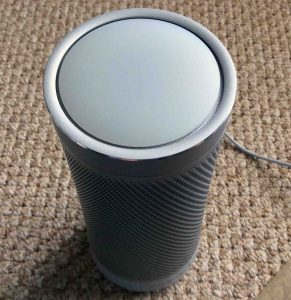 Picture of the Microsoft Invoke Cortana speaker light pattern, showing either normal standby mode or that the speaker is powered off.