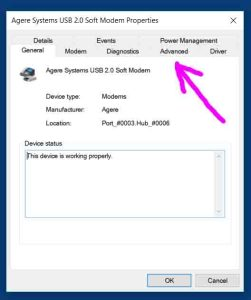 How to change COM port number on USB modem. Picture of the Agere Systems USB 2.0 Soft Modem Configuration screen on Windows 10, with the Advanced tab highlighted.