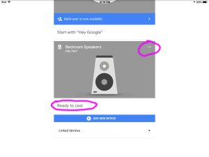 Screenshot of the Google Home app on iOS, displaying its Devices screen, showing a Google Chromecast Audio receiver card, with its control menu button circled, top right.