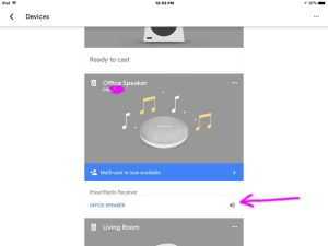 How to turn up volume on Google Home Mini. Picture of the Google Home app on iOS, displaying its Devices screen. This shows the smart speaker playing an iHeart radio station.