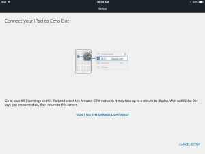 Screenshot of the Alexa app on iOS in 2018, displaying its -Echo Dot Setup-Connect Your iPad To Echo Dot- screen.