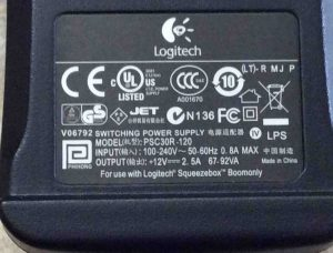 Picture of the label side of the Logitech AC power adapter, model PSC30R-120, for the Squeezebox Boom internet radio.