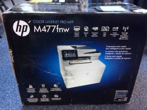 Picture of the HP Laserjet MFP M477 printer, original box, side view 3.