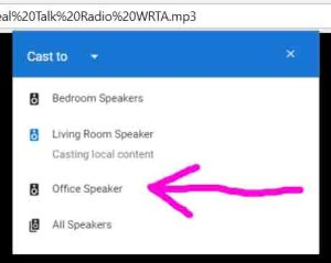Screenshot of the Google Chrome browser, showing its -Cast To- menu. The -Living Room Speaker- is playing and the -Office Speaker- is highlighted.