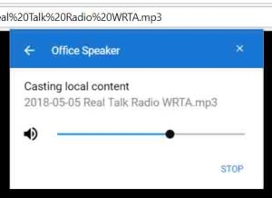 Screenshot of the Google Chrome browser on PC, showing its -Casting Local Content to Office Speaker- window.