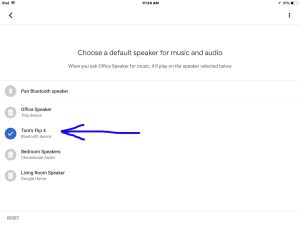 How to pair JBL Flip 4 with Google Home speakers. Picture of the Google Home app on iOS in 2018, showing its -Choose Default Speaker- screen, with the -Toms Flip 4- Bluetooth speaker highlighted.