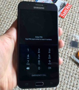 Picture of the J7 Sky Pro phone, showing its PIN prompt screen.
