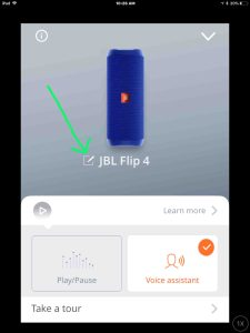 Screenshot of the JBL Connect app, showing its -Settings- screen, with the -Edit Speaker Settings- button highlighted.