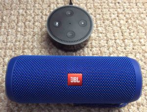 Picture of the JBL Flip 4 alongside an Amazon Echo Dot 2 speaker. Amazon Alexa Echo Dot speaker picture gallery.