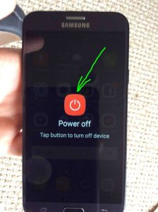 Picture of the -Power Off- screen with the red -Power Off- button highlighted.
