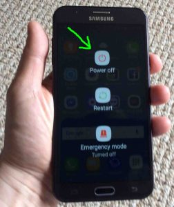 Picture of the Samsung Galaxy J7 Sky Pro phone, showing the Power screen, with the OFF button highlighted.