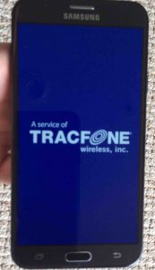 Picture of this TracFone's -Powering Down- screen.  Samsung J7 Force Restart.