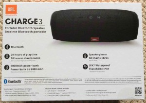 JBL Charge 3 waterproof wireless Bluetooth speaker picture gallery. Picture of the JBL Charge 3 Bluetooth speaker and power bank, original box, side 3.