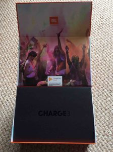 JBL Charge 3 waterproof wireless Bluetooth speaker picture gallery. Picture of the JBL Charge 3 Bluetooth waterproof speaker, original box. Showing outer flap open.