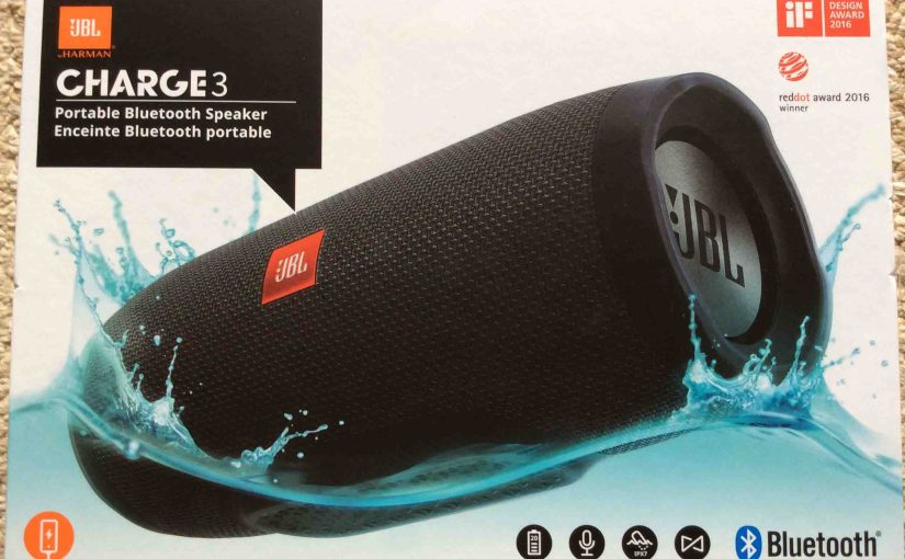 Picture of the JBL Charge 3 portable Bluetooth speaker, original box, side 1.