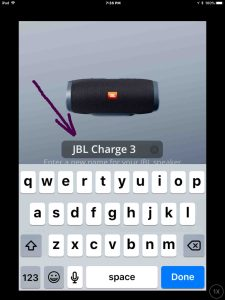 JBL Charge 3 change name. Screenshot of the JBL Connect Plus app on iOS. Showing its JBL Charge 3 Change Name edit box highlighted.