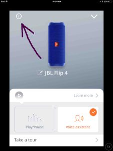 Screenshot of the JBL Connect Plus app on iOS. Displaying the JBL Flip 4 Settings page, with the -Information- button highlighted.