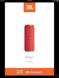 Screenshot of the JBL Connect Plus app on iOS. Showing its JBL Flip 3 speaker Home screen, with no notifications marker displayed.