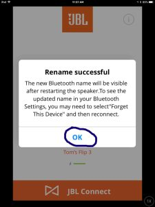 Screenshot of the JBL Connect Plus app on iOS, displaying the JBL Flip 3 speaker Rename Successful screen. The OK button is circled. JBL Flip 3 change name.