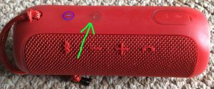 Picture of the JBL Flip 3 battery operated speaker, showing its -Connect Plus- button highlighted. JBL Flip 3 buttons layout.
