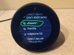 Picture of the speaker showing its Connect To Network screen with the VillaSalon WiFi network highlighted.