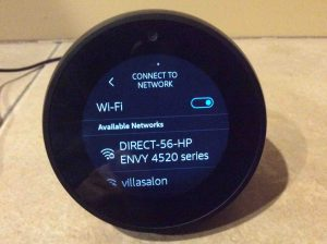 Picture of the -Connect To Network- screen on the speaker. Echo Spot WiFi Setup.