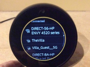 Picture of the speaker showing its -WiFi Network Connected Successfully- screen. Echo Spot WiFi Setup.