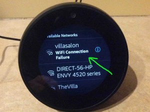Picture of the Alexa Echo Spot speaker, showing that the attempted WiFi connection has failed.