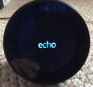 Picture of the Amazon Echo Spot visual speaker booting, showing its Echo logo wait screen.