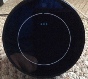 Picture of the Amazon Echo Spot Alexa speaker booting, displaying its Wait screen.