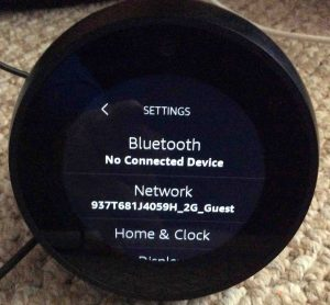 Picture of the Amazon Echo Spot Alexa speaker, displaying its Settings screen.