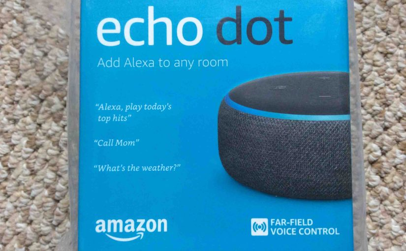 Picture of the Echo Dot 3rd Gen speaker box, front view.