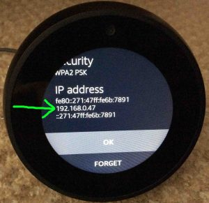 Picture of the Echo Spot Alexa Amazon speaker, showing its IP address at the bottom of its -Connect To Network- page, highlighted.