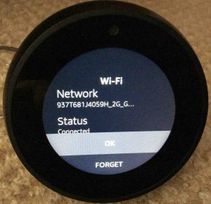 Picture of the Echo Spot Amazon Alexa speaker, showing the top of its -Connected WiFi Network Information- page.