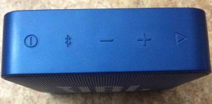 Picture of the JBL Go 2 portable speaker. its buttons panel on the right side of this Bluetooth speaker.