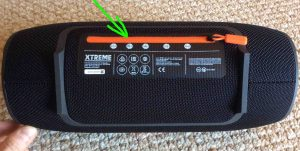 Picture of the Xtreme JBL Bluetooth speaker back view, showing the zipped closed power port door highlighted.