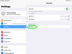 Screenshot of the iOS Bluetooth Settings page, showing the JBL Go 2 speaker, discovered but not paired.Connect JBL Go 2 to iPhone.