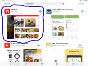 Screenshot of the App Store, showing the correct Instant Pot app to use with the Smart WiFi pressure cooker. How to set up Instant Pot Smart WiFi.