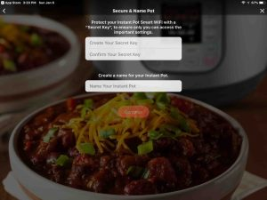 Screenshot of the Instant Pot app on iOS, displaying its -Secure and Name Pot- page.