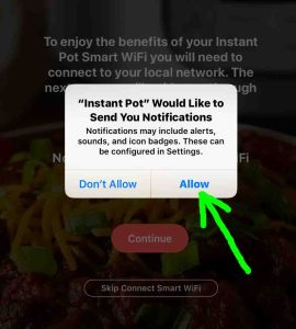 Screenshot of the Instant Pot app on iOS, showing its-Send Notifications Prompt for Permission- window, with the -Allow- button highlighted.