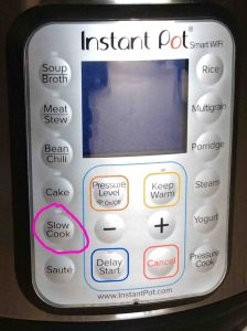 Picture of the -Slow Cook- button, circled.