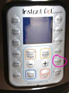 Picture of the WiFi Instant Pot smart pressure cooker front buttons panel, showing the -Yogurt- button circled.