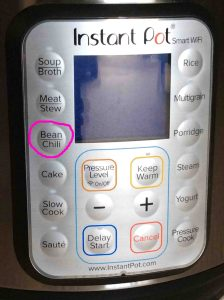 Picture of the Instant Pot smart WiFi pressure cooker button panel, showing the -Chili, Bean- button circled.