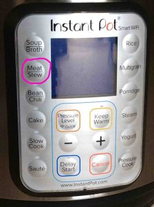 Picture of the Instant Pot WiFi pressure cooker front panel, showing the -Stew, Meat- button circled.