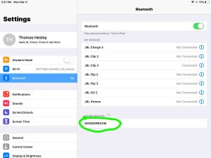 Screenshot of the iOS Bluetooth Settings page, showing the UE Wonderboom speaker as discovered But not paired, circled. How to pair UE Wonderboom with iPad Air.