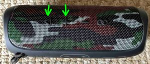 Picture of the -Play-Pause- and -Volume-UP- buttons highlighted. How to Reset JBL Speaker.